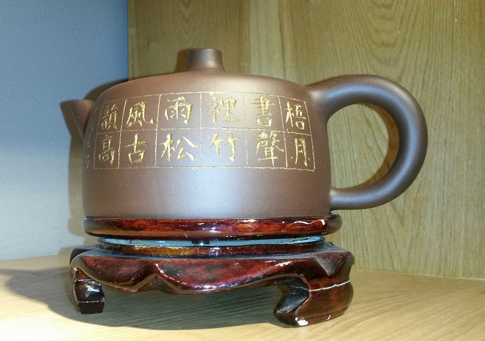 High-End Dark-Red Enameled Pottery Teapot